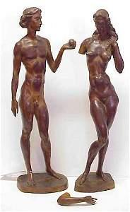 3138: GLEB W DERUJINSKY (1888-1975, NY) 2 WOOD FIGURES