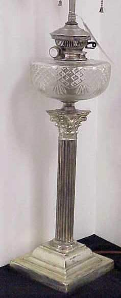 """SHEFFIELD SILVER & ETCHED GLASS LAMP, 34 1/2"""" HI"""