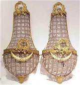 97A PR OF FR STYLE BRASS  BEADED CRYSTAL WALL SCONCES