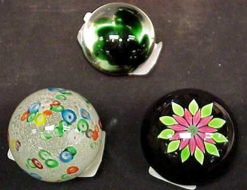 "1024A: 3 GLASS PAPERWEIGHTS: PERTHSHIRE (2""H X 3""D),  2"