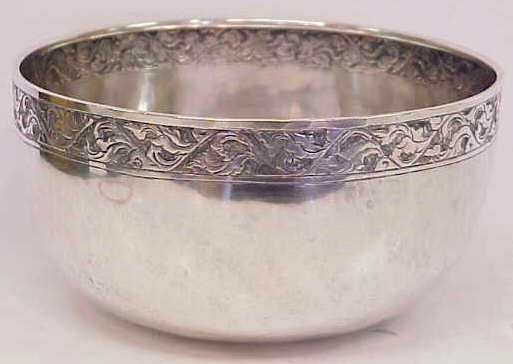 2017: THAI STERLING BOWL WITH HAND EMBOSSED RIM, 3 1/8""