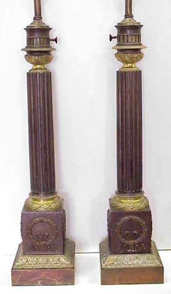 "2114: PR FRENCH BRONZE ""SUIREAU"" LAMPS, PLAQUED ON THE"