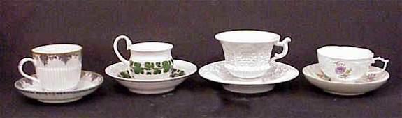 "2158: 4 MEISSEN CUPS & SAUCERS: LEAF PATTERN 3 1/2""H, A"