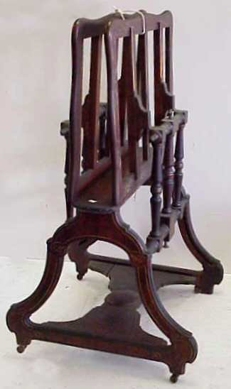 137: VICTORIAN EAST LAKE PORTFOLIO STAND, CARVED WITH G