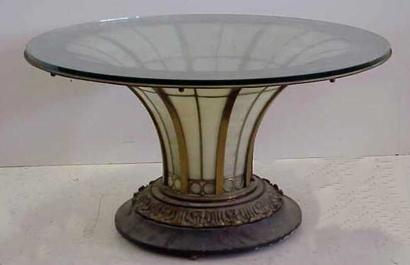 138A: SLAG GLASS & BRONZE COFFEE TABLE WITH GLASS TOP,