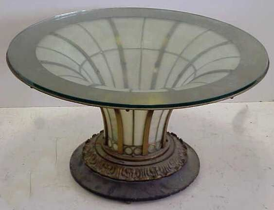 138A: SLAG GLASS & BRONZE COFFEE TABLE WITH GLASS TOP, - 5