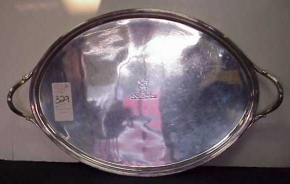 1329: 18THC ENGLISH STERLING TRAY WITH LION CREST