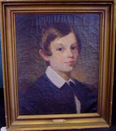 1025A: EDWARD BOWERS (1822-1870)OIL ON CANVAS OF YOUNG