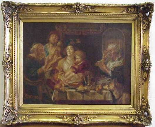 1022: 18THC INTERIOR GENRE SCENE DEPICTING A FAMILY AT