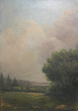 1005: 19TH CENTURY PASTORIAL LANDSCAPE, OIL ON BOARD, 1
