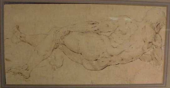 """1008: 17/18THC NUDE, INK ON PAPER, 11"""" X 5 1/2"""", UNSIGN"""