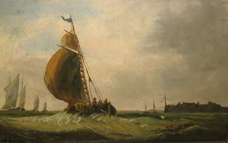 1011: 19TH CENTURY SEASCAPE WITH BOATS, FIGURES AND A F
