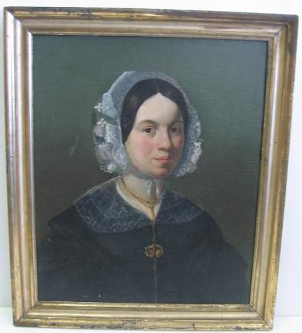 1013: EARLY 19THC PORTRAIT OF A LADY IN A LACE CAP, COL