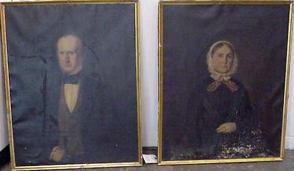 1015: PAIR OF 19TH C PORTRAITS, AS IS CONDITION (SOME T