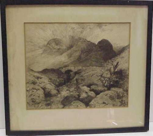 1018: THOMES MORAN (1837-1926 SANTA BARBARA CA) ETCHING