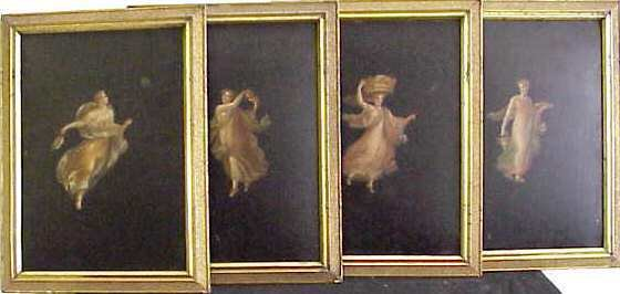 1019: SET OF FOUR 19TH C CONTINENTAL ALLEGORICAL PORTRA