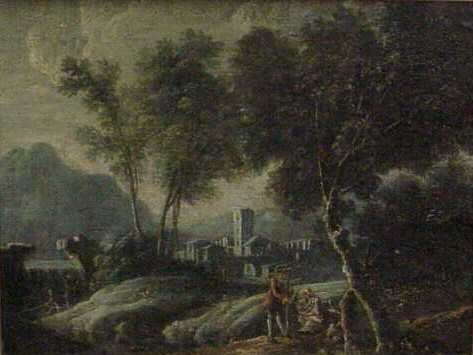 """1021: LANDSCAPE WITH FIGURES, OIL ON CANVAS, 16 1/2"""" X"""