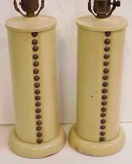 2002: 1940'S TABLE LAMPS/FINE PAIR OF IVORY LEATHER COV - 3
