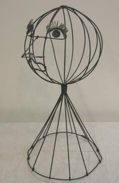 2003A: FREDRICK WEINBERG STYLE WIRE HAT STAND, FIGURAL,