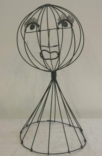 2003A: FREDRICK WEINBERG STYLE WIRE HAT STAND, FIGURAL, - 2