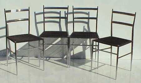 2004: GIO PONTI 1960'S SET OF FOUR CHROME CHAIRS