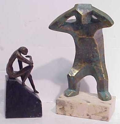 2005: BRONZE SCULPTURES/TWO BRONZE CASTED FIGURES ON MA