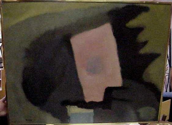 2212: THEODOROS STAMOS (1922-, NY) ABSTRACT, OIL ON BOA