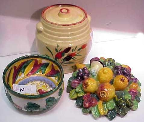 2: EARLY YELLOW WARE COOKIE JAR, ITALIAN POTTERY BOWL &