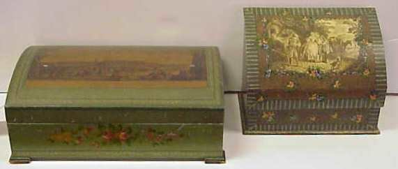 4: TWO HAND DECORATED & PRINTED BOXES (LETTER BOX & JEW