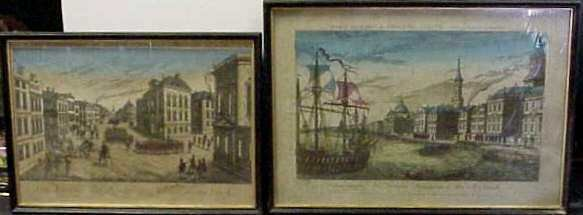 8: TWO 19THC HAND COLORED ETCHINGS OF NEW YORK: ONE TIT