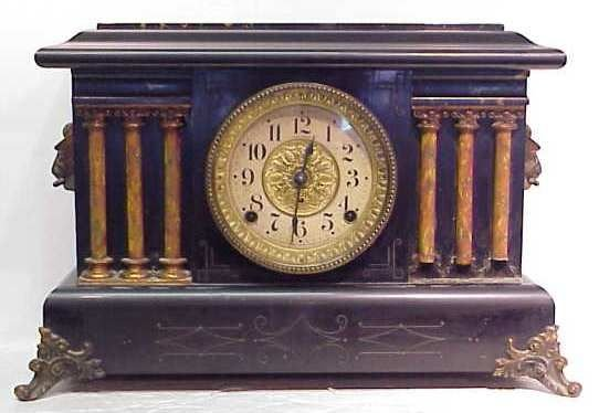 10A: VICTORIAN SETH THOMAS MANTLE CLOCK WITH FAUX MARBL