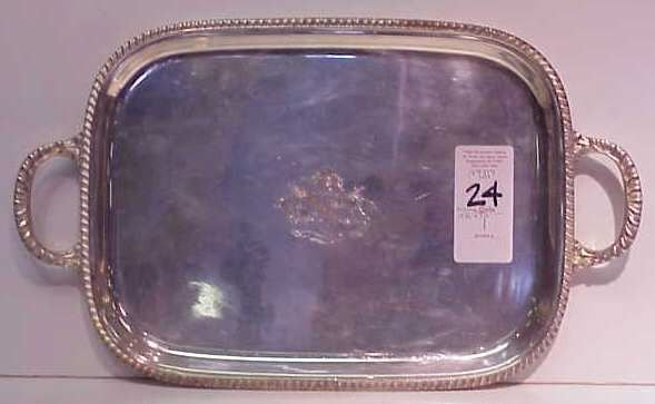 24: SILVER PLATE HANDLED SERVING TRAY. ENGRAVED WITH FA
