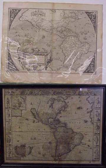 177: TWO 17THC ENGRAVED MAPS: ONE OF NORTH AMERICA, DAT