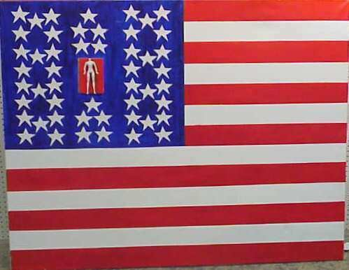 1007: LARGE AMERICAN FLAG PAINTING, OIL ON CANVAS, SIGN