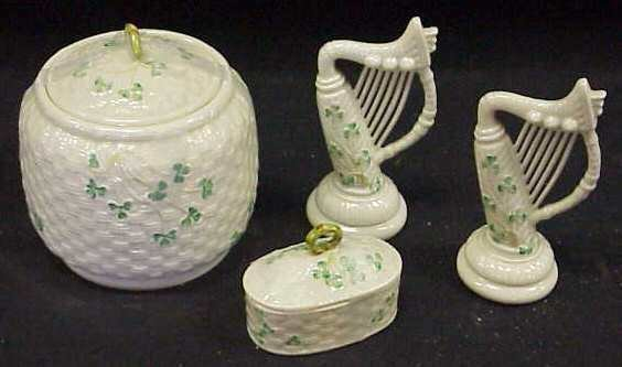 "1011: 4 PIECES BELLEEK: 2 HARPS (6 1/4""H), SMALL OVAL B"