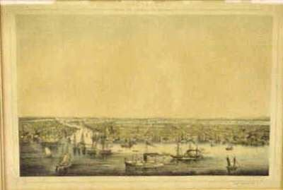 1012: SCENE OF NEW YORK ,GERMAN HAND COLORED ETCHING, 1