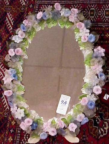 1009A:ITALIAN FLORAL GLASS OVAL TABLE MIRROR