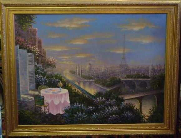 1018A:  PARISIAN CITY VIEW, OIL ON CANVAS PAINTING