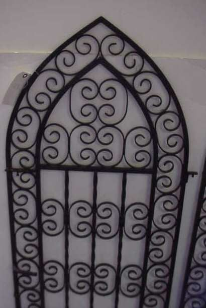 """1020A: PAIR GOTHIC STYLE IRON GATES PAINTED BLACK, 45""""H - 2"""