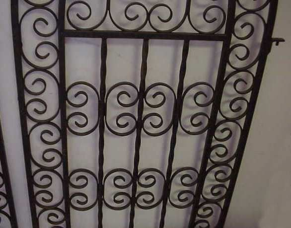 """1020A: PAIR GOTHIC STYLE IRON GATES PAINTED BLACK, 45""""H - 3"""