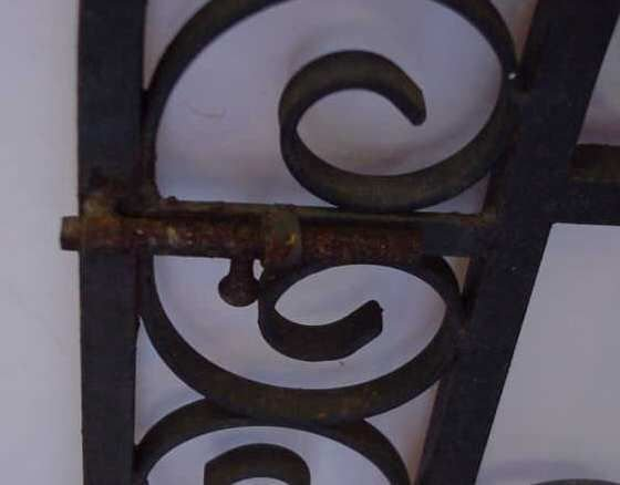 """1020A: PAIR GOTHIC STYLE IRON GATES PAINTED BLACK, 45""""H - 4"""