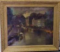 166: OLIVIER FOSS (1920-, FRANCE) EUROPEAN CANAL SCENE,