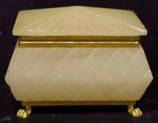 1006: ITALIAN ALABASTER LIDDED BOX WITH GILT METAL