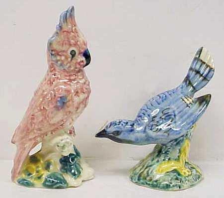 1009: 2 STANGL BIRDS: BLUE JAY & PINK COCKATIE
