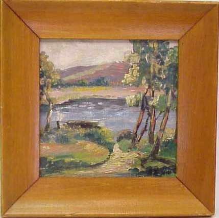 1019: CHRISTMAS 1942 LANDSCAPE W/ A RIVER, OIL ON B
