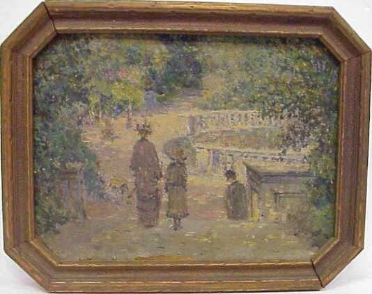 1096: IMPRESSIONISTIC SCENE OF A MOTHER & CHILD IN A PA