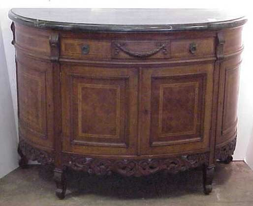 1130: MARBLE TOP DEMILUNE COMMODE, WALNUT WITH SATINWOO