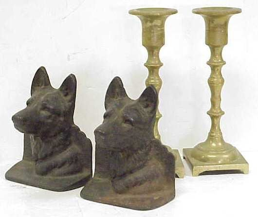 """1007: PAIR CAST METAL DOG BOOK  ENDS, 4 1/4""""H AND A PA"""