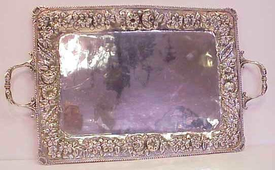 2139: .900 SILVER TRAY, HEAVILY REPOUSSED, HALLMARKED,
