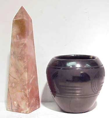 2006A: BLACK POTTERY VASE(AS IS) & MARBLE OBLISK